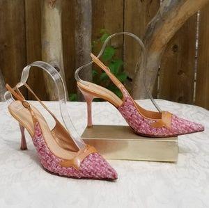 Casadei Tweed Pink and Peach slingback heels Sz 6